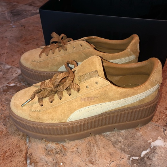 new concept 66fd1 4dd7f Fenty Puma Brown Cleated Creepers Suede Women's NWT
